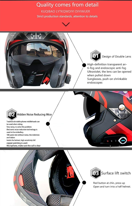 YUONG Casque Moto Bluetooth int/égr/é Bluetooth Modular Casque Moto Casques Moto Int/égraux avec Anti-bu/ée Double Visi/ère Casques Motocross avec Microphone int/égr/é Dot Homologu/é