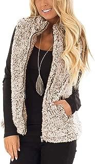 Women's Zipper Vest Sleeveless Sherpa Fleece Slim Open Front Oversized Outerwear with Pockets