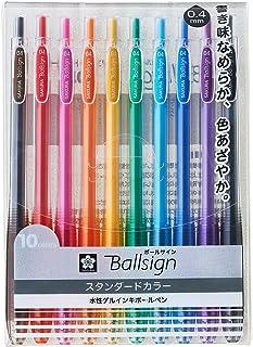 サクラクレパス ジェルボールペン ボールサインノック04 10色セット GBR154-10