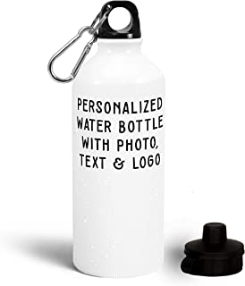 Customizable Water Bottle - 20 oz. Personalized Bottle - Add Photo, Logo, Picture or Text on Bottles, Aluminum Water Bottle, Great Photo Gifts for Mom, Dad and Office