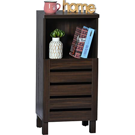 DeckUp Uniti Engineered Wood Bed Side Table and End Table (Walnut, Matte Finish)
