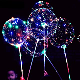 6 PACKS LED Light Up BoBo Balloons with Stick,3 Levels Flashing LED String Lights,20 Inches Bubble Balloons, Air Pump, for...