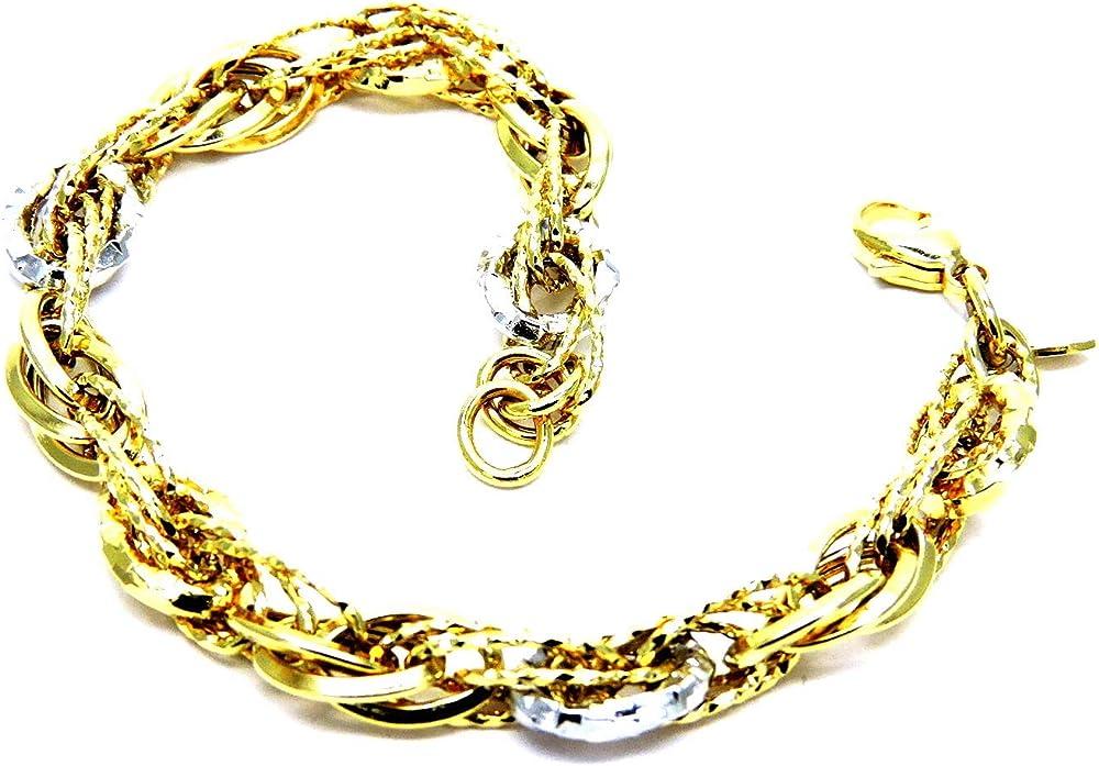 Pegaso gioielli bracciale per donna in  oro giallo e bianco 18kt (750),fantasia lucido BR172
