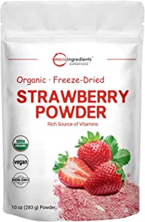 Organic Strawberry Freeze Dried Powder, 10 Ounce, Rich in Immune Vitamin and Antioxidants to Support Immune System, Best S...