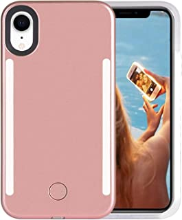 Wellerly iPhone XR Case, LED Illuminated Selfie Light Cell Phone Case Cover [Rechargeable] Dual Light Up Luminous Selfie Flashlight Case for iPhone XR 6.1inch (Rose Gold)