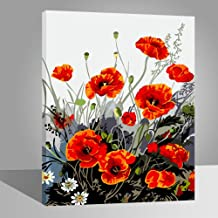 LIUDAO DIY Oil Painting on Canvas Paint by Number Kit for Adults - Red Poppies (16x20 Inches Wooden Frame)