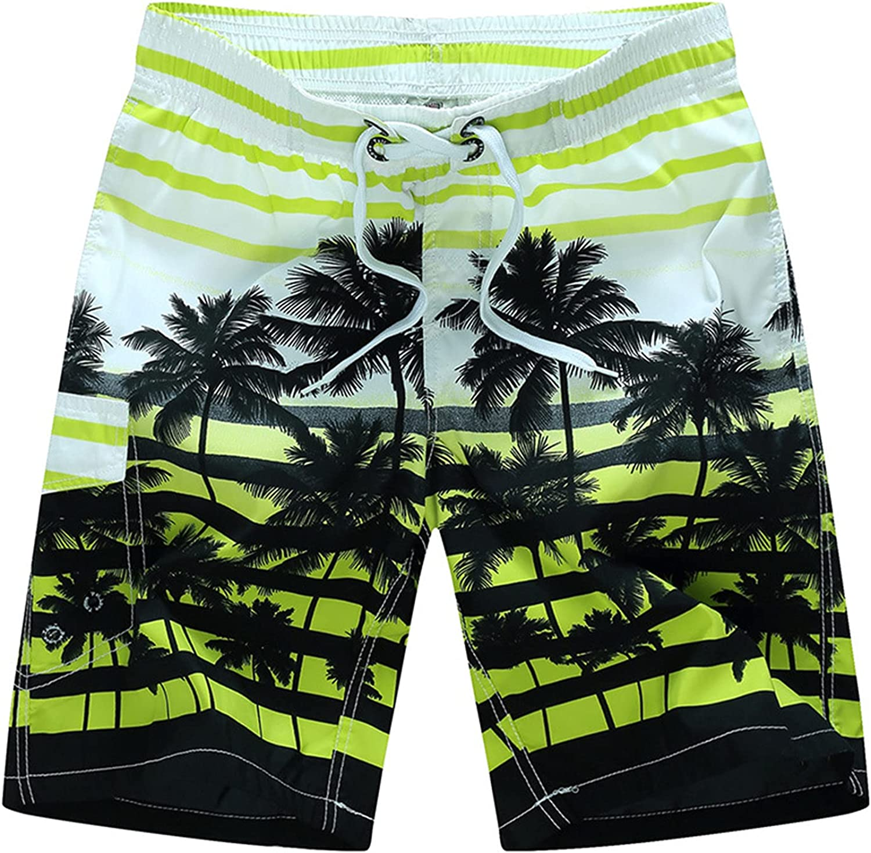 Men's Elastic Waist Beachwear Board Shorts Drawstring Printed Swim Short Quick Dry with Mesh Lining Swimsuit Trunks