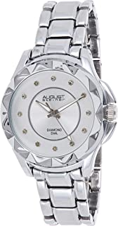 August Steiner Women's Funky Bezel Fashion Watch - Multi Textured Sunburst and Matte Diamond Dial on Stainless Steel Bracelet - AS8164