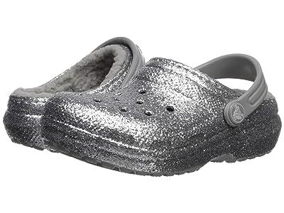 Crocs Kids Classic Glitter Lined Clog (Toddler/Little Kid) (Silver/Silver) Girl