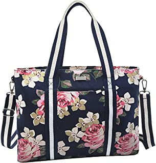 MOSISO Laptop Tote Bag (Up to 15.6 Inch),Canvas Classic Multifunctional Work Travel Shopping Duffel Carrying Shoulder Handbag Compatible Notebook, MacBook, Ultrabook and Chromebook,Dark Blue Base Rose