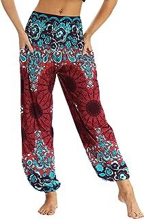 Donna Vintage Hippie Goa Boho Yoga Tempo Libero Pantaloni Harem Pantaloni Pump Pantaloni FLOWER-Power