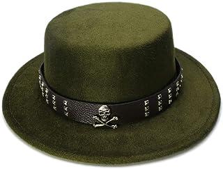 40f19bb7b42 DOSOMI Women Men Vintage 100% Wool Wide Brim Bowler Hat Skull Bead Leather  Band (