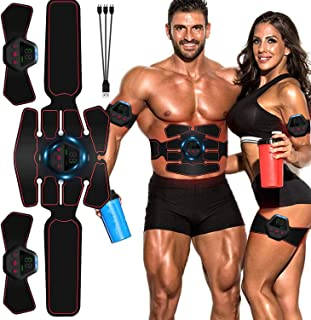 Moonssy Electroestimulador Muscular, USB Recargable EMS Estimulador Muscular Abdominales, para Abdomen/Cintura/Pierna/Brazo