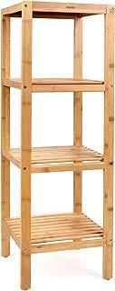Homfa Bamboo Bathroom Shelf 4-Tier Tower Free Standing Rack Multifunctional Storage Organizer