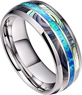 8mm Mens Tungsten Carbide Ring Real Blue Opal & Abalone Shell Inlay Wedding Band High Polished