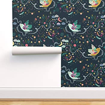 Spoonflower Peel And Stick Removable Wallpaper Dreamers Boho Bird Hope Folk Flowers Navy Love Bohemian Print Self Adhesive Wallpaper 12in X 24in Test Swatch Amazon Com