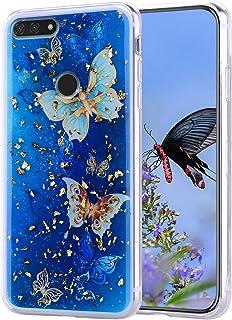 جراب HMOON لهاتف Huawei Y6 2018، جراب خلفي شفاف ناعم من البولي يوريثان الحراري من السيليكون مع نمط فراشة زرقاء لهاتف Huawe...