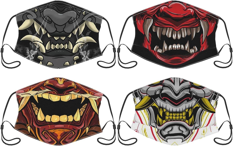4PCS Japanese Demon Samurai Oni Face Mask for Adults Men Women, Face Bandana Balaclava Reusable with Filter Pocket