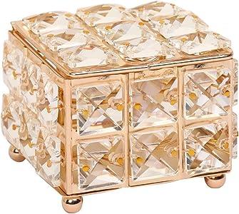 Organizador de Caja de joyería Decoración para el hogar Rhinestone Pendiente Anillo Perlas Caja de Almacenamiento Cristal Organize Holder Jewelry Cajas con Cubierta