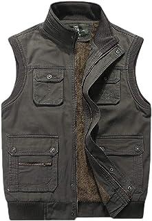 Men's Outdoor Lightweight Fleece Lined Traveling Vest Jacket Outerwear Fishing Camping Sleeveless Jacket