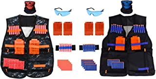 2 Pack Kids Tactical Vest Kit for Nerf Guns with Quick Reload Clips, Vision Protection, Tube Masks, Wrist Bands and Soft Bullet Darts (92 Pieces)