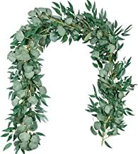 TOPHOUSE 6.5 Feet Artificial Silver Dollar Eucalyptus Leaves Garland and 6 Feet Willow Vines Twigs Leaves Garland String f...