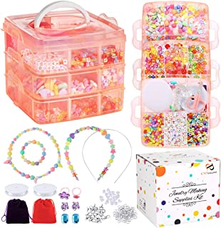PP OPOUNT Jewelry Making Bead Kit Includes Over 1200 Pieces Beads, 10 Pieces Charms, 50 Pieces Jewelry Findings, 10 Pieces...