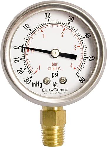 "Caja de acero atrás mnt. Negro Utilidad de 2/"" calibrador de presión 1//4/"" NPT CTR 0-100 Psi"