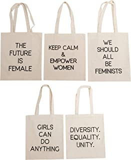 Feminist Tote Bags - 5-Pack Assorted Feminist Text Quotes Designs, 100% Cotton Canvas Reusable Shopping Bags for Women, Perfect Gift for Feminists as Accessory or Bridesmaid Gift, Party Favor, 14