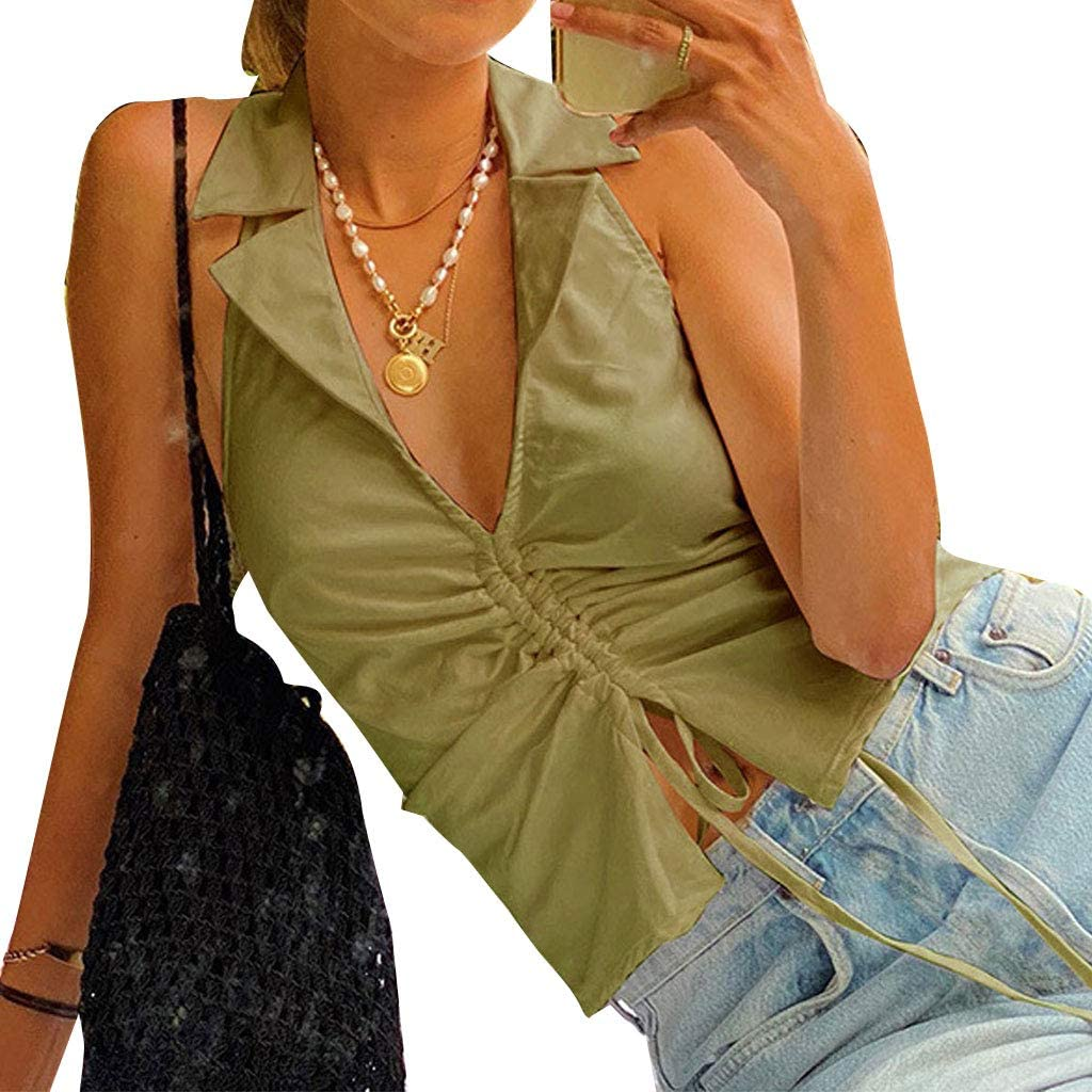 YOUAI Women Camisole,Anji Cat Fashion Women Solid Color Vest Shirt Lapel Collar V Neck Drawstring Lace-up Tops-Green-M