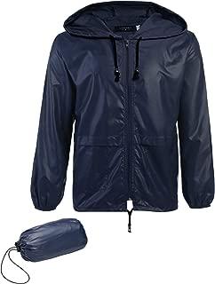 JINIDU Men's Packable Rain Jacket Hooded Lightweight Waterproof Raincoat for Cycling Camping Travel