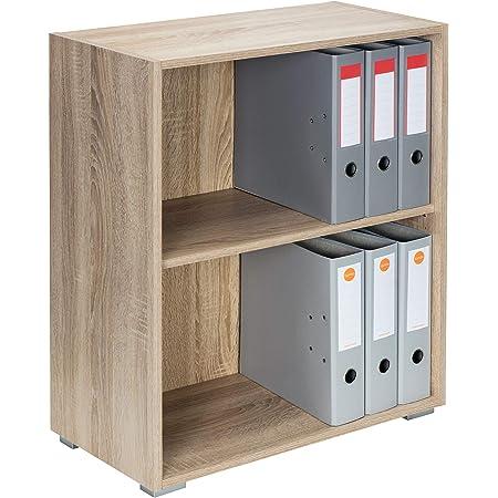 Deuba Mueble Vela Roble Armario con 2 Puertas y 2 estantes versatil almacenaje sin Puertas Oficina Biblioteca salón