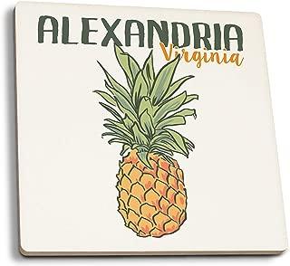 Lantern Press Alexandria, Virginia - Pineapple (Set of 4 Ceramic Coasters - Cork-Backed, Absorbent)