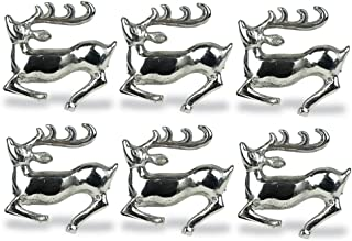 DII Modern Chic Napkin Rings for Christmas, Holidays, Dinner Parties, Weddings Receptions, or Everyday Use, Set Your Table With Style - Silver Stag, Set of 6