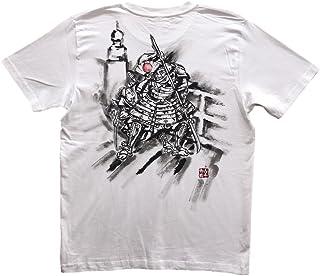 牛若丸 弁慶 Tシャツ 白 半袖 和柄 日本画 武者絵 侍 手描き 墨絵 伯舟庵