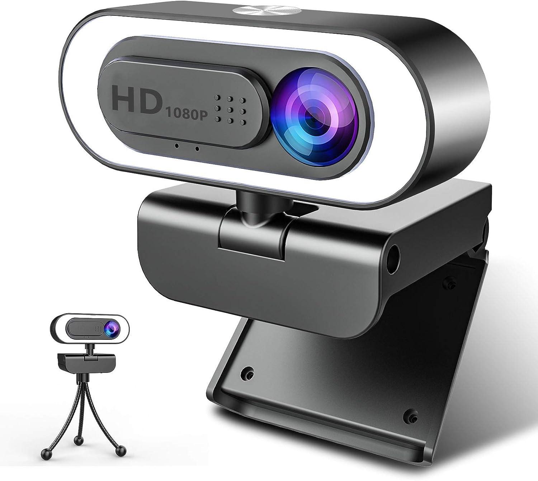 NIYPS Webcam PC con Microfono y Anillo de Luz, Camara Web 1080p con Tapa y Tripode para Ordenador/Portatil/Mac, Web CAM para Youtube, Skype, Zoom, Xbox One, Videoconferencia y Videollamadas