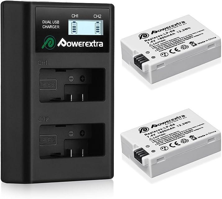 Powerextra 2 Baterías para Canon LP-E8 1800mAh Li-Ion con Cargador Pantalla LCD para Canon LP E8 Canon Rebel T3i T2i T4i T5i EOS 600D 550D 650D 700D Kiss X5 X4 Kiss X6 LC-E8E