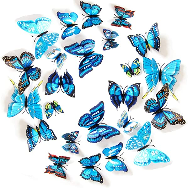 JYPHM 24PCS Butterfly Wall Stickers Double Layer Butterfly Decal DIY Removable Refrigerator Magnets Mural 3D Wall Stickers For Kids Home Room Nursery Decoration Wall Art Blue
