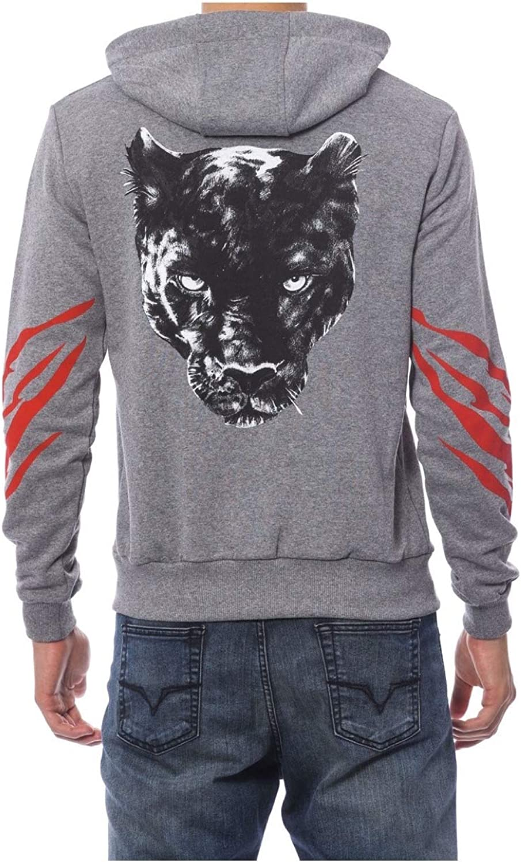 Roberto Cavalli Sport Men's Gray Suit Hoody Zipped Sweatshirt and Skinny Fit Pant Size: 3XL / EU56