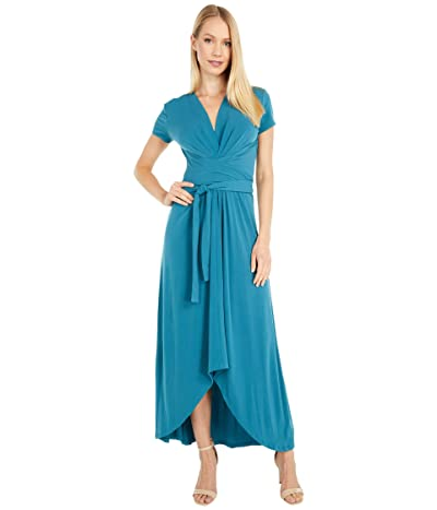 MICHAEL Michael Kors Cap Sleeve Maxi Wrap Dress (Dark Cyan) Women
