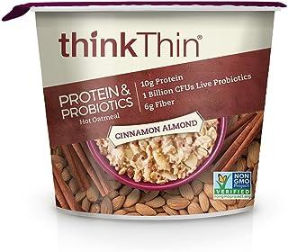 think! (thinkThin) Instant Oatmeal Cups - Protein & Probiotics - Vegan, Gluten Free, Steel Cut Oats, 6g Fiber, Non GMO, 10...