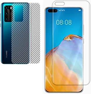 Huawei P40 Pro Polymer Nano Unbreakable screen protector having Camera hole with Carbon Fiber Back protective Film Full gl...
