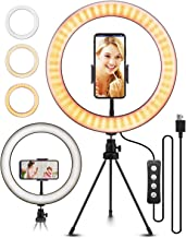 """10.2"""" Selfie Ring Light with Tripod Stand, ELEGIANT Ring Light with Cell Phone Holder 3 Light Modes & 11 Brightness Level and 160 Bulbs for YouTube Video Live Stream Makeup Photography"""