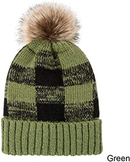 KCBYSS Plaid Knitted Hat for Women Winter Beanie Skullies Warm Gravity Falls Cap Female Cap (Color : Green)