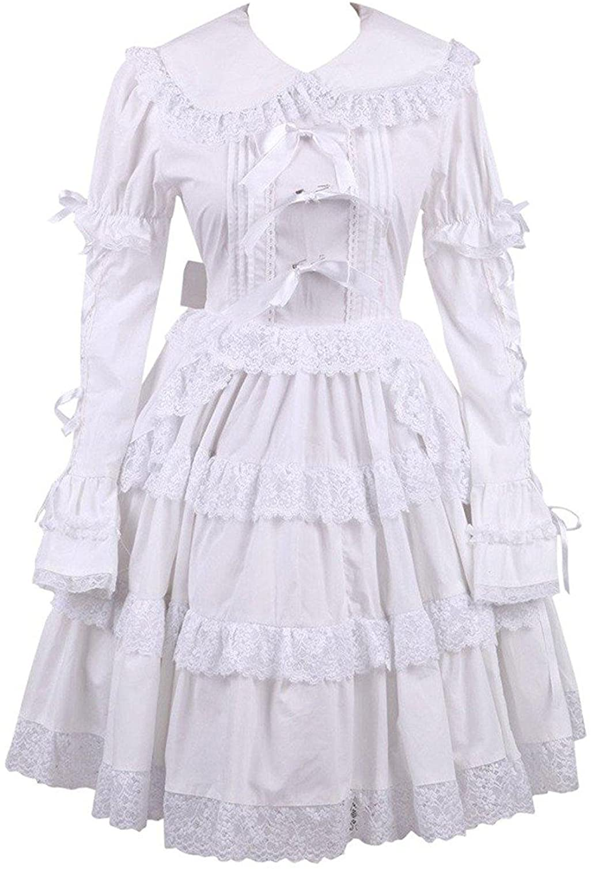 Cemavin Cotton White Lace Bow Sweet Lolita Dress