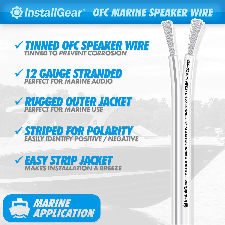 InstallGear 12 Gauge Tinned OFC Heavy Duty Boat Marine Speaker Wire, 100 feet: Industrial & Scientific