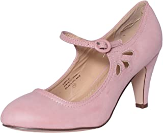 Chase   Chloe Kimmy-21 Women s Round Toe Pierced Mid Heel Mary Jane Style  Dress 1fb58b620113