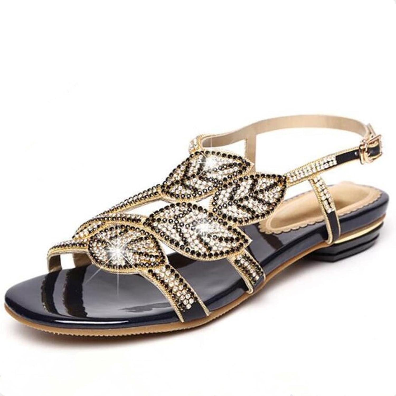 Women Summer Fashion Open Toe Rhinestone Flat Sandals Wild Korean Sandals