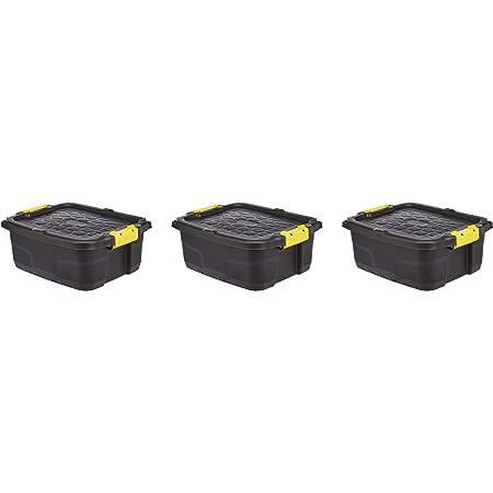Amazon Basics Lot de 3 Boîtes de rangement ultra-résistantes 24 L avec couvercle et fermeture à clic
