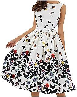Women Dress Fashion Floral Print Sleeveless Vintage O-Neck Pleated Zipper Sashes Gown